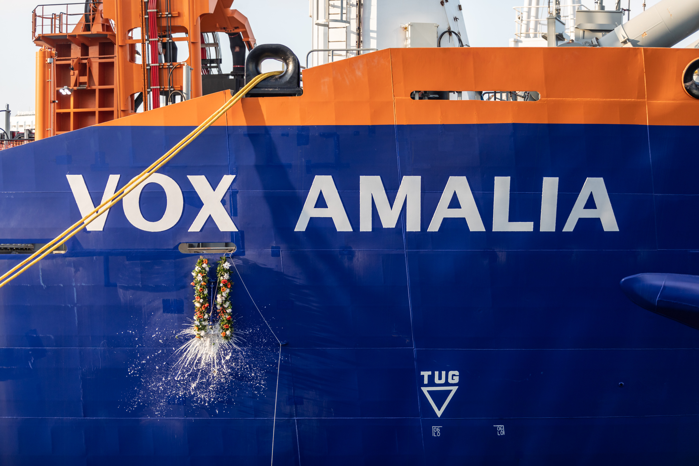 Queen Máxima christens trailing suction hopper dredger Vox Amalia