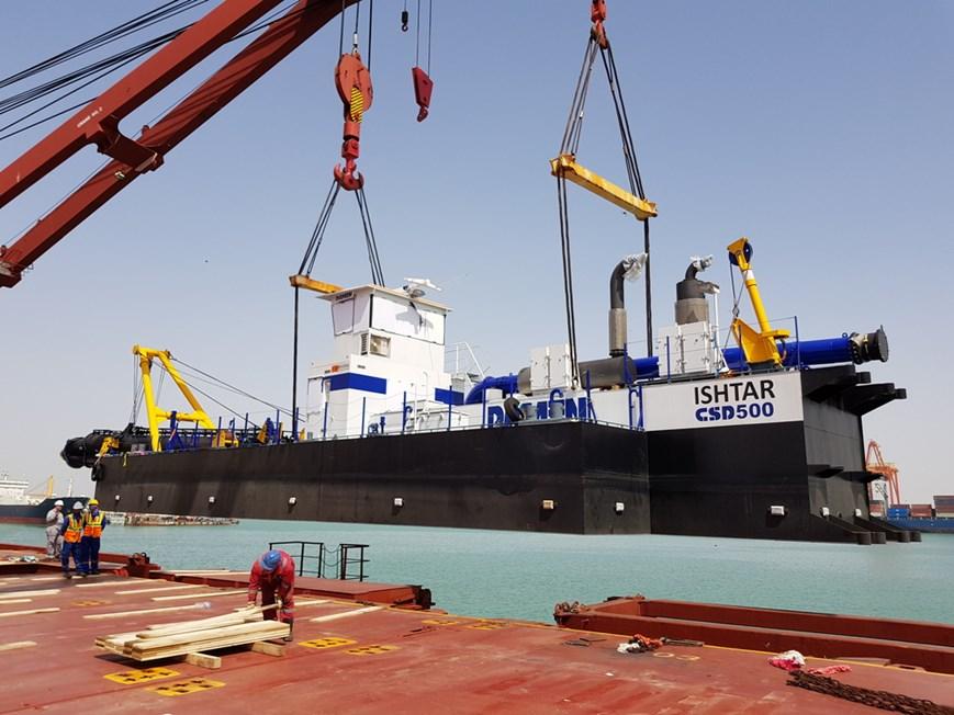 The Dutch built dredger has arrived on site at Port of Umm Qasr