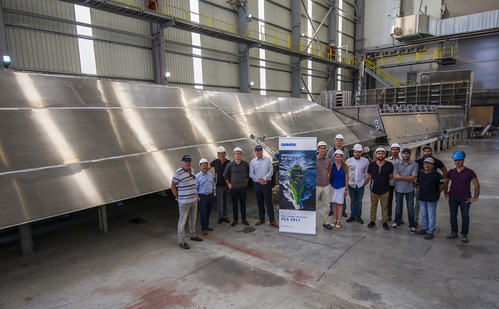 Keel laid for the first of Damen's revolutionary new  FCS 7011 Crew Change