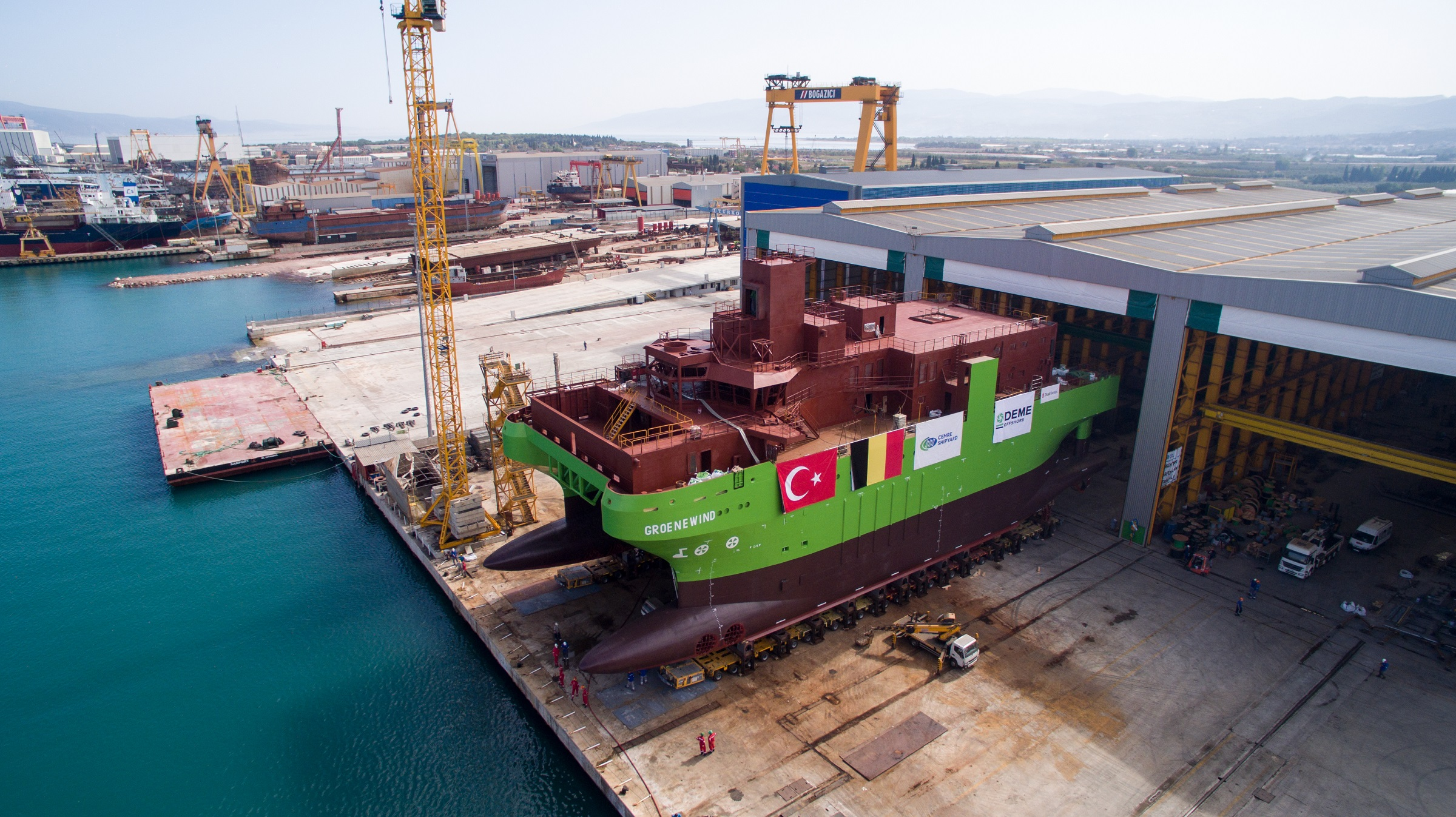 Launch of DEME's first ever Service Operation Vessel 'Groene Wind'