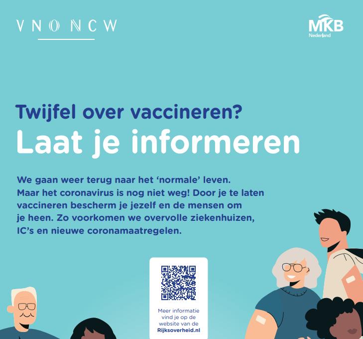 VNO-NCW: 'Twijfel over vaccineren? Laat je informeren'
